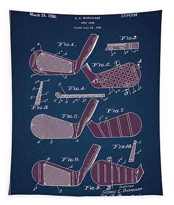 Golf Club Patent Drawing Navy Blue 6 Tapestry