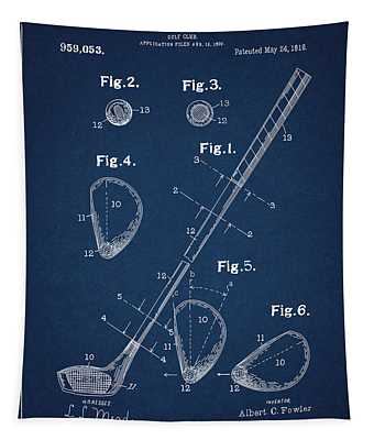 Golf Club Patent Drawing Navy Blue Tapestry