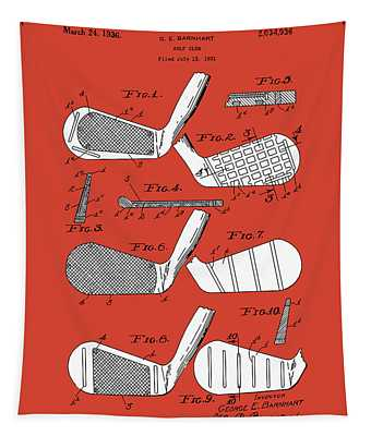 Golf Club Patent Drawing Red 3 Tapestry