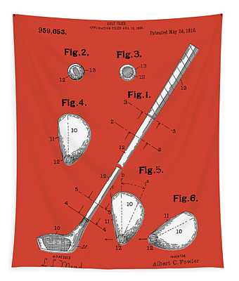 Golf Club Patent Drawing Red Tapestry