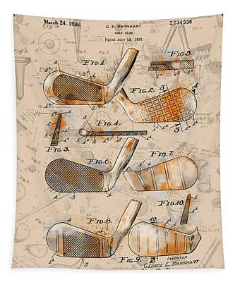 Golf Club Patent Drawing Sepia 2 Tapestry