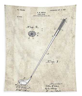 Golf Club Patent Drawing Vintage 4 Tapestry