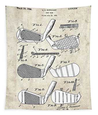 Golf Club Patent Drawing Vintage 5 Tapestry