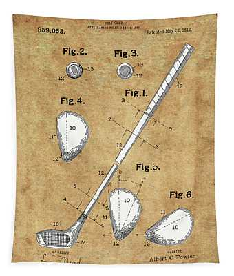 Golf Club Patent Drawing Vintage Tapestry