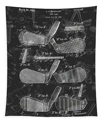 Golf Club Patent Drawing Watercolor Black 3 Tapestry