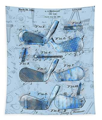 Golf Club Patent Drawing Watercolor Blue 3 Tapestry