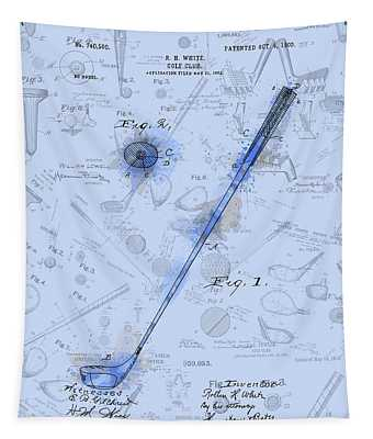 Golf Club Patent Drawing Watercolor Blue Tapestry