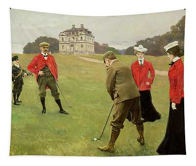 Golf Players At Copenhagen Golf Club  Tapestry