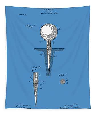 Golf Tee Patent Drawing Blue Tapestry