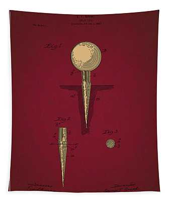 Golf Tee Patent Drawing Dark Red 2 Tapestry