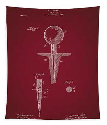 Golf Tee Patent Drawing Dark Red Tapestry