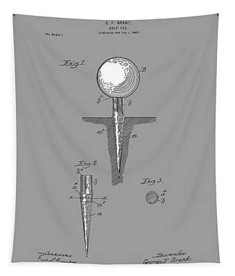 Golf Tee Patent Drawing Grey Tapestry