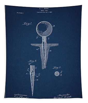 Golf Tee Patent Drawing Navy Blue Tapestry