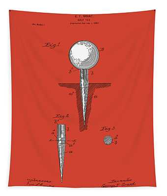 Golf Tee Patent Drawing Red Tapestry