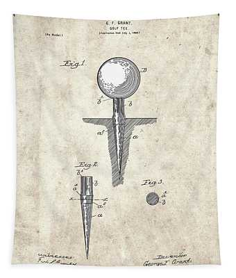 Golf Tee Patent Drawing Vintage 2 Tapestry