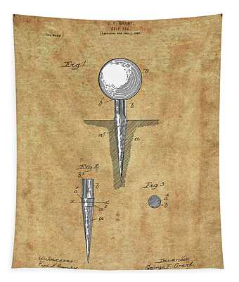 Golf Tee Patent Drawing Vintage Tapestry
