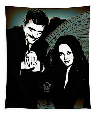 Tapestry featuring the digital art Gomez And Morticia Addams by Joy McKenzie
