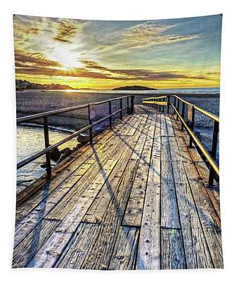 Good Harbor Beach Footbridge Shadows Tapestry
