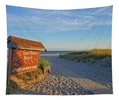 Good Harbor Sign At Sunset Tapestry