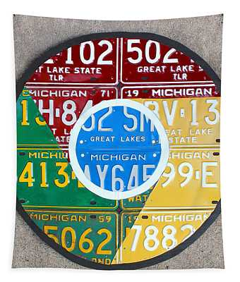 Google Chrome Logo Recycled License Plate Art On Cement Wall Tapestry
