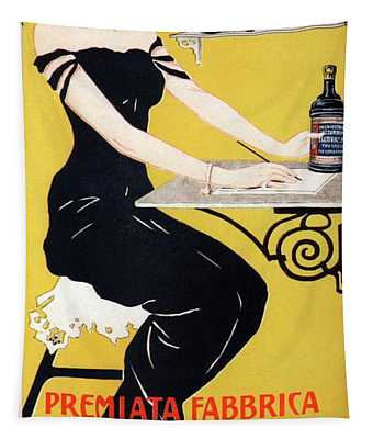 G.organo - Premiata Fabrica - Padova, Italy - Vintage Ink Advertising Poster Tapestry