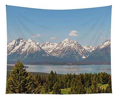 Grand Tetons Over Jackson Lake Panorama Tapestry