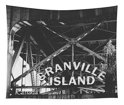 Granville Island Bridge Black And White- By Linda Woods Tapestry