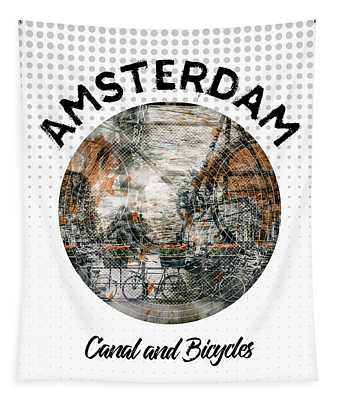 Graphic Art Amsterdam Canal And Bicycles Tapestry
