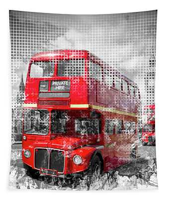 Graphic Art London Westminster Red Buses Tapestry