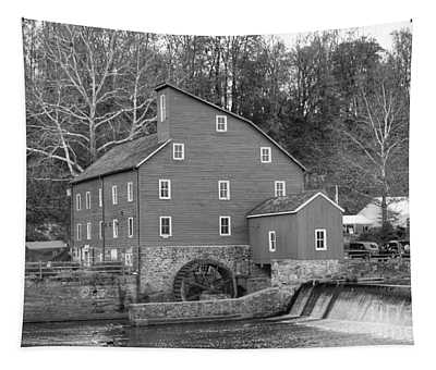 Gray Autumn At The Old Mill In Clinton Tapestry