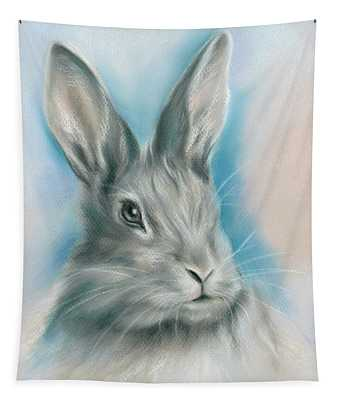 Gray Bunny Rabbit On Blue Tapestry