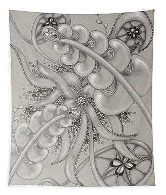 Gray Garden Explosion Tapestry