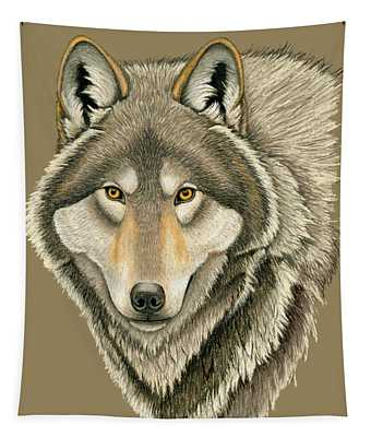 Gray Wolf Portrait Tapestry