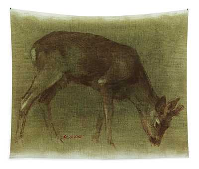 Grazing Roe Deer Oil Painting Tapestry