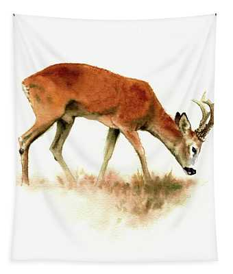 Grazing Roebuck Watercolor Tapestry
