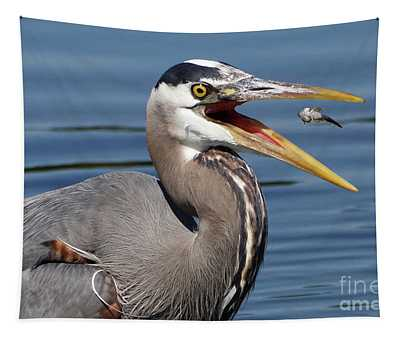 Great Blue Heron Feast Tapestry