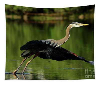 Great Blue Heron - Over Green Waters Tapestry