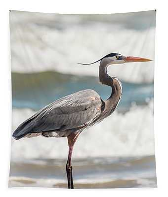 Great Blue Heron Profile Tapestry