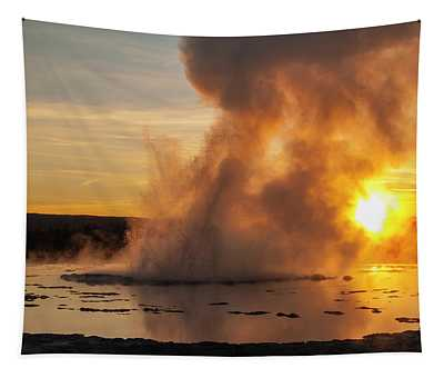 Great Fountain Geyser Sunset - Yellowstone National Park Tapestry