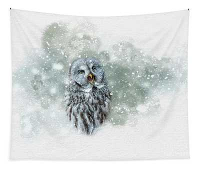 Great Grey Owl In Snowstorm Tapestry