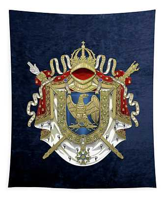 Greater Coat Of Arms Of The First French Empire Over Blue Velvet Tapestry