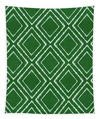 Green And White Inky Diamonds- Art By Linda Woods Tapestry