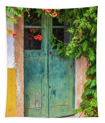 Green Door With Vine Tapestry