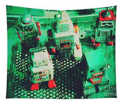 Green Grunge Comic Robots Tapestry