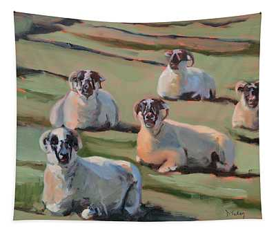 Green Hill Sheep At Rest Tapestry