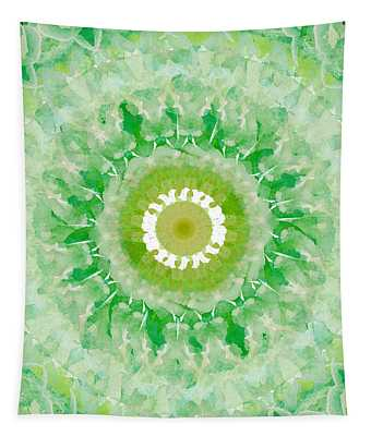 Green Mandala- Abstract Art By Linda Woods Tapestry