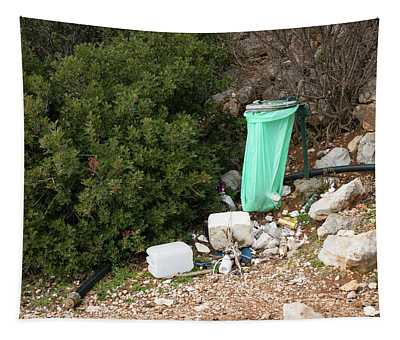 Green Trash Bag And Rubbish In Croatia Tapestry
