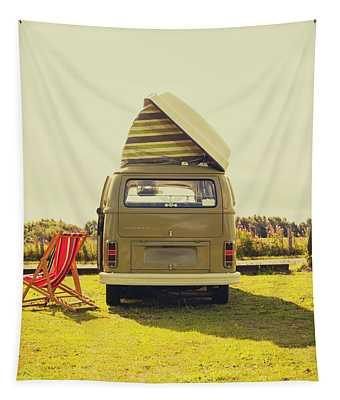 Green Vw T2 Camper Van Rear View Tapestry