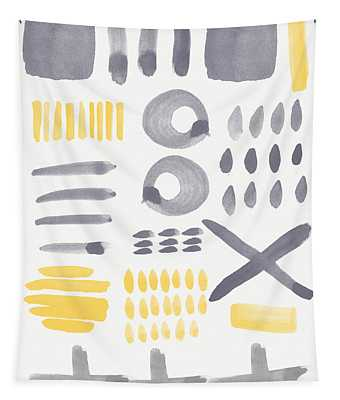 Grey And Yellow Shapes- Abstract Painting Tapestry