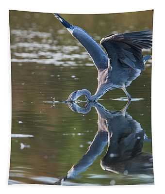 Grey Herons Fishing In Action Tapestry